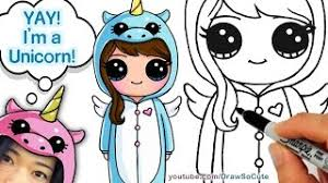 How To Draw Cute Girl In Unicorn Onesie Step By Easy
