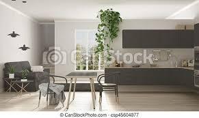 wohnzimmer graue raum modern kueche skandinavisch