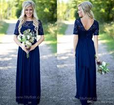 royal blue long country bridesmaid dresses lace scoop neckline