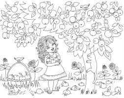 Gather Apples At The Fruit Basket Coloring Pages
