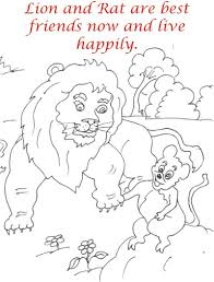 The Lion And Rat Story Coloring Page For Kids
