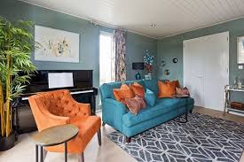 Teal Living Room Decor by 17 Teal And Orange Living Room Ideas For The Cloudless Atmosphere