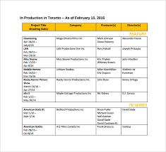 Toronto Film Shooting Schedule PDF Template