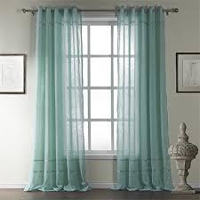 leyden grommet top classic cotton blue stripe sheer curtain drapes