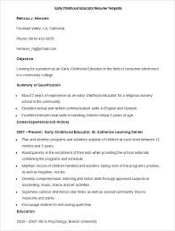 Early Childhood Education Resume Sample Educator Template How To Make A Good Teacher