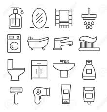 grau badezimmer linie symbole auf weißem hintergrund