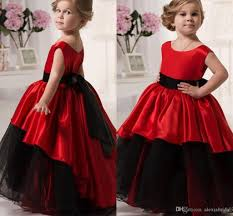 2016 red and black flower girls u0027 dresses scoop waistband ball gown