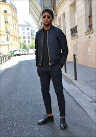 Mens Navy Bomber Jacket Black Crew Neck T Shirt Dress Pants Leather Derby Shoes