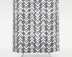 Chevron Print Shower Curtains by Shower Curtain Grey Etsy