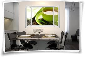 wandtattoo wandbild fenster teezeit kräutertee wohnzimmer küche esszimmer deko