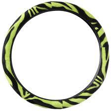 Oxgord Trim 4 Fit Floor Mats by 21pc Set Green Zebra Print Car Seat Cover Auto Floor Mats Wheel