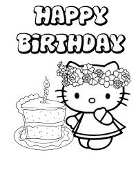 Hello Kitty Single Cake Birthday Coloring Page