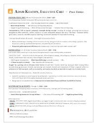 Sample Resume For Chef Of A Executive Examples