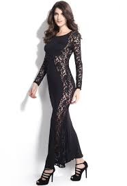 dear lover black lace maxi dress with fish tail detail