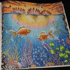 Colouring Book By Johanna Basford Daybreak Or Sunset Fish In Pond From Secret Garden Colored Colorindolivrostop
