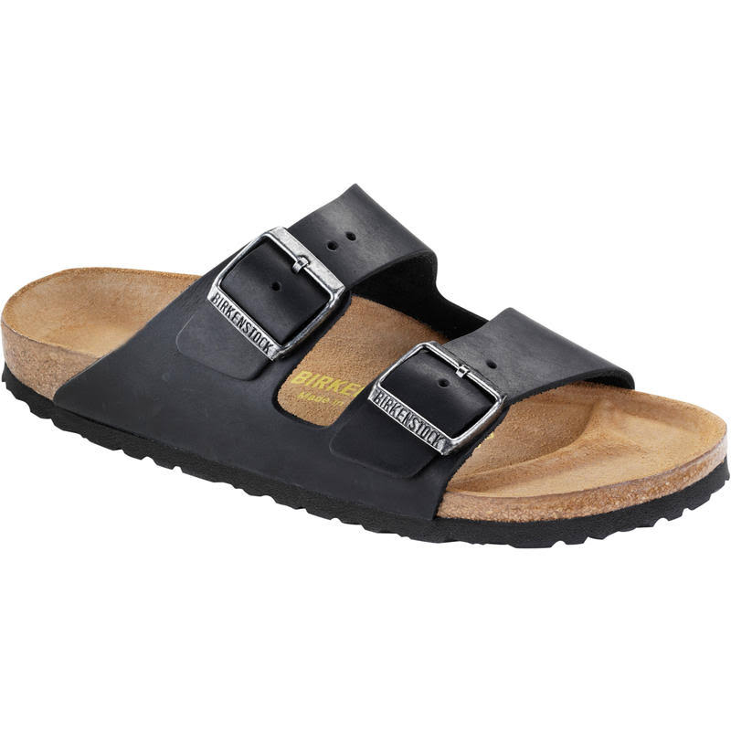 Birkenstock Unisex Arizona Oiled Leather Sandals - Black, 42 EU
