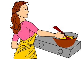Mother Cooking In The Kitchen Clipart