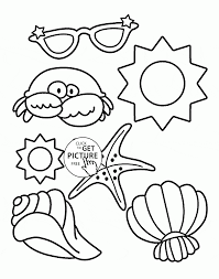 Beach In Summer Coloring Page For Kids Seasons Pages Printables Free