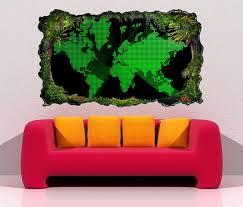 3d wandtattoo karte welt europa schwarz grün kreise punkte weltkarte landkarte afrika map modern selbstklebend wandbild wandsticker wohnzimmer wand