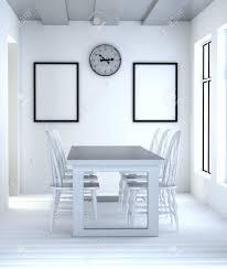 abstraktes 3d innenraum esszimmer mit weißem tisch und stühlen das innere der uhr auf der rechten seite und leeren rahmen