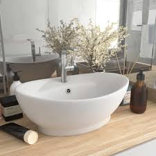 waschtisch luxus waschbecken überlauf oval matt weiß 58 5x39 cm keramik