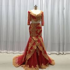 red and gold two piece prom dress promotion shop for promotional
