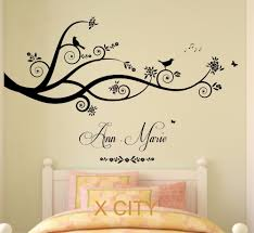 Wall Art For Bedroom Personalised Name Tree Birds 3d Butterflies Sticker Girls