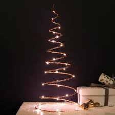 Battery Copper Table Top Christmas Tree 30 Warm White LEDs