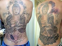 Great Looking Asian Buddha Tattoo On Back