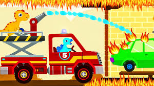 Dinosaur Game Cartoons: Fire Truck Rescue & Fire Fighter | FIRE ...