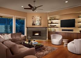 floating shelves next to fireplace family room contemporary with