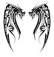 Long Tribal Dragon With Sword Tattoo Design Photo
