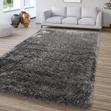 wohnzimmer hochflor teppich shaggy sehr soft und weich unifarben anthrazit größe 120x170 cm