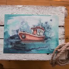 din a4 kunstdruck ungerahmt segelboot boot maritim meer