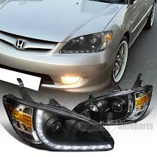 for 2004 2005 honda civic r8 style led drl projector lights