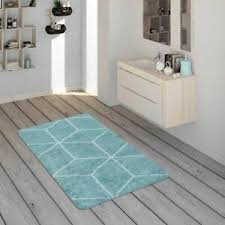 details zu badematte kurzflor teppich für badezimmer mit rauten muster in türkis weiß