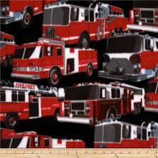 Winter Fleece Fire Trucks Multi - Discount Designer Fabric - Fabric.com
