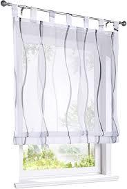 eslir raffrollo mit schlaufen gardinen küche raffgardinen transparent schlaufenrollo vorhänge mit wellen druck modern voile grau bxh 140x140cm 1 stück