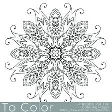 Detailed Printable Coloring Pages For Adults Gel Pens Mandala Pattern PDF JPG