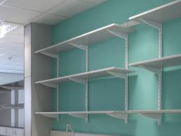 Wall Shelves At Home Depot Large White Stained Wooden Shelf With Metal Stand Garage Furniture Design