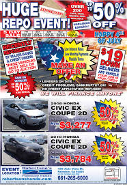 100 Bank Repo Trucks 5 Day Sale Robertsons Palmdale Honda
