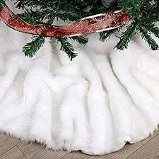 Faux Fur Christmas Tree Skirt 36 Inches Elegant Pure White Xmas Holiday Skirts For