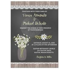 Rustic Daisy Mason Jar Chalkboard Wedding Invitation