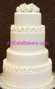 Round Four Tier Wedding Cake With Custom Purple Lily Flowers Curl Design Monogram Topper