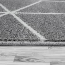 skandi teppich wohnzimmer rauten muster grau