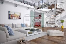 modernes loft mit einer galerie wohnzimmer und küche bilder myloview