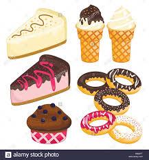 süße nachspeise kuchen eis donuts kuchen stock