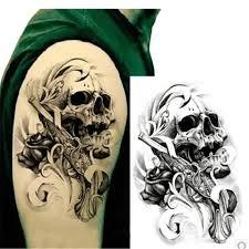 Nice Stencil With Men Shoulder Punk Skull Tattoo
