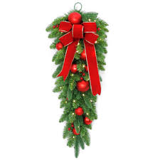 Pre Lit Slim Christmas Trees Uk by Christmas Wreaths And Garland At The Home Depot