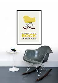 chaise a bascule eames eames affiche mid century modern chaise chaise bascule vintage